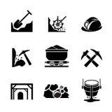 Icone dell'estrazione del minerale metallifero e di estrazione mineraria Fotografia Stock