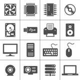Icone dell'hardware di calcolatore Fotografia Stock Libera da Diritti