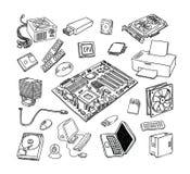 Icone dell'hardware di calcolatore Componenti del PC Immagine Stock