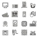 Icone dell'hardware di calcolatore impostate illustrazione vettoriale