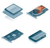 Icone dell'hardware di calcolatore impostate Immagine Stock Libera da Diritti