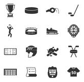 Icone dell'hockey messe Immagine Stock