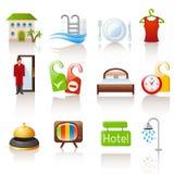 Icone dell'hotel Immagini Stock