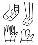 Icone dell'illustrazione del profilo dei calzini del guanto messe Immagini Stock