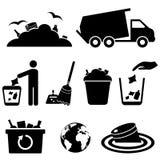 Icone dell'immondizia, dei rifiuti e dello spreco Fotografia Stock Libera da Diritti