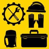 Icone dell'impianto idraulico di vettore messe e strumenti e strumenti di DIY Siluetta IL Immagine Stock