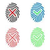 Icone dell'impronta digitale messe Fotografia Stock Libera da Diritti