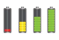 Icone dell'indicatore di energia della batteria Immagine Stock