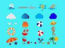 Icone dell'insieme di estate e gabbiani di volo nel mare e nel sole per l'illustrazione di progettazione di logo illustrazione vettoriale