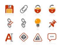 Icone dell'interfaccia e dell'tavoletta porta-utensili | Serie dell'hotel del sole Fotografia Stock Libera da Diritti