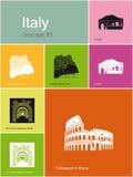 Icone dell'Italia Fotografia Stock Libera da Diritti