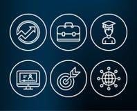 Icone dell'obiettivo, dello studente e della cartella La verifica, il video online ed il globo dell'internazionale firma Immagine Stock
