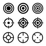 Icone dell'obiettivo messe su fondo bianco Vettore Fotografie Stock