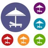 Icone dell'ombrello e del banco messe Fotografia Stock Libera da Diritti