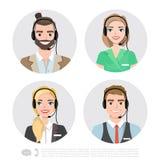 Icone dell'operatore di call center Illustrazione del fumetto di vettore Fotografia Stock