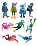 Icone dell'operatore subacqueo del fumetto Immagini Stock
