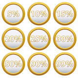 Icone dell'oro con le percentuali Fotografie Stock Libere da Diritti