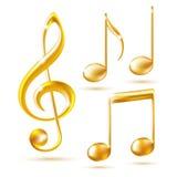 Icone dell'oro di una chiave tripla e delle note di musica. Fotografie Stock Libere da Diritti