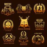 Icone dell'oro di vettore dell'avvocato di avvocatura di giustizia legale illustrazione vettoriale