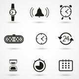Icone dell'orologio e di tempo messe Fotografia Stock