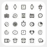Icone dell'orologio impostate Fotografia Stock Libera da Diritti