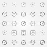 Icone dell'orologio impostate Fotografie Stock