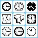 Icone dell'orologio messe illustrazione vettoriale