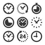 Icone dell'orologio messe su fondo bianco Vettore Immagini Stock Libere da Diritti