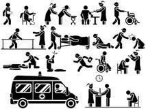 Icone dell'ospedale di tema degli uomini in bianco e nero Fotografia Stock