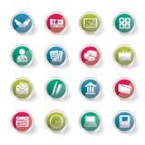 Icone dell'ufficio e di affari sopra fondo colorato Immagine Stock
