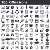 100 icone dell'ufficio messe Fotografie Stock Libere da Diritti
