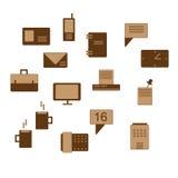 Icone dell'ufficio nel marrone Fotografia Stock