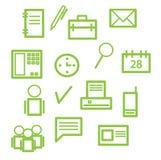 Icone dell'ufficio nel verde Fotografie Stock Libere da Diritti