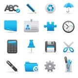 Icone dell'ufficio | Serie 01 dell'indaco Fotografia Stock