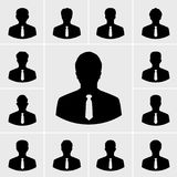 Icone dell'uomo di affari, la gente delle siluette in vestito illustrazione di stock