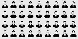 Icone dell'uomo di affari messe e carattere di vettore del capo su fondo grigio illustrazione di stock