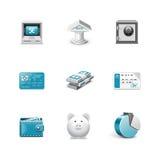 Icone della Banca. Serie di Azzuro Fotografia Stock