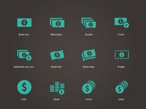 Icone della banconota del dollaro. Immagini Stock Libere da Diritti
