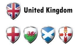 Icone della bandiera del Regno Unito Fotografie Stock Libere da Diritti