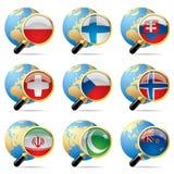 Icone della bandierina del mondo illustrazione vettoriale