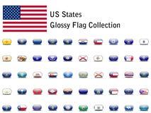 Icone della bandierina della condizione di Stati Uniti Fotografia Stock Libera da Diritti