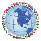 Icone della bandierina intorno al globo illustrazione di stock