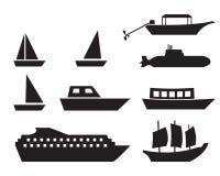 Icone della barca e della nave nello stile semplice, vettore illustrazione vettoriale