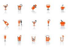 Icone della barra e della bevanda. Fotografie Stock Libere da Diritti