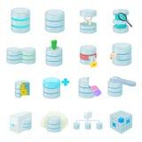Icone della base di dati messe illustrazione vettoriale