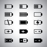 icone della batteria impostate Fotografie Stock