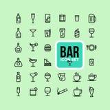 Icone della bevanda dell'alcool della bevanda impostate Immagine Stock