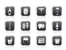 Icone della bevanda e del vino Fotografia Stock