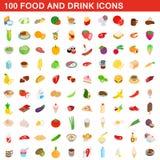 100 icone della bevanda e dell'alimento hanno messo, stile isometrico 3d illustrazione vettoriale