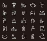 Icone della bevanda e della bevanda Fotografia Stock